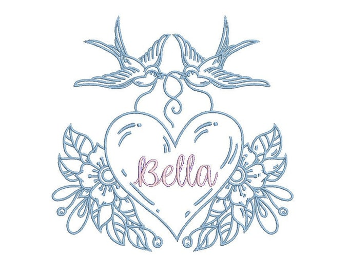 Swallows Heart Monogram Frame Tattoo Retro Machine Embroidery File design 5 x 7 inch hoop