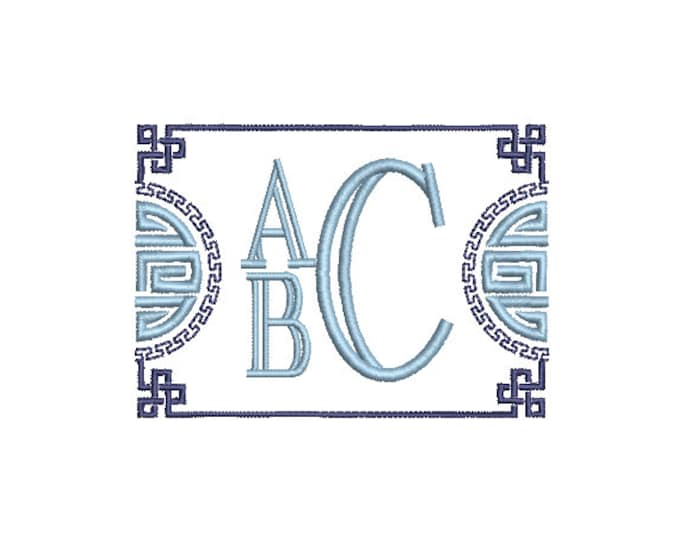 Chinoiserie Chic Monogram Frame - Machine Embroidery File design - 4x4 hoop