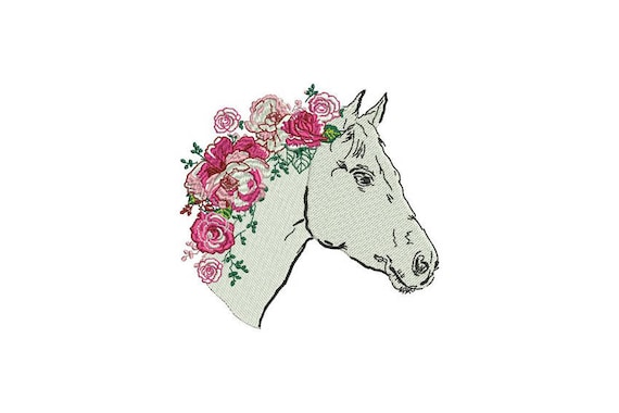 Rosey Horse Machine Embroidery File design - 5x7 inch or 13x18cm hoop - Boho Machine Embroidery - Digital Download