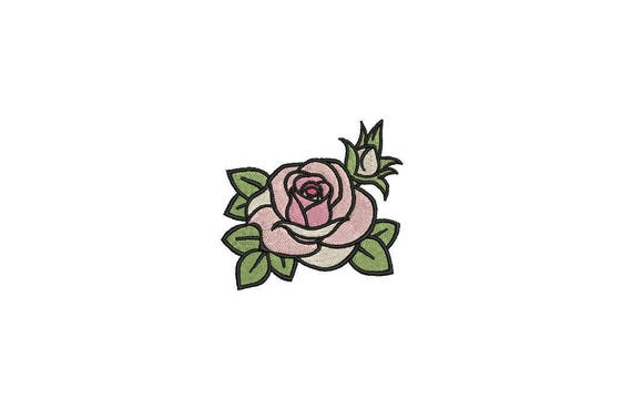 Rose Embroidery - Pink Rose Machine Embroidery File design 6cm - 4 x 4 inch hoop - Rosette - Rose Silhouette
