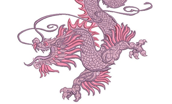 Chinoiserie Chic Dragon - Machine Embroidery File design - 8x12 inch hoop - Mega Hoop Design