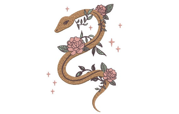 Mystical Snake Embroidery Design -  Urban Modern Machine Embroidery File design - 5x7 inch hoop - instant download