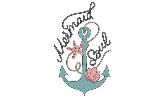 Mermaid Soul Machine Embroidery Design - Machine Embroidery File design - 6 x 10  inch hoop - Instant download