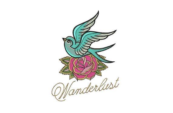 Boho Wanderlust Bird & Rose Bohemian Machine Embroidery File design 6x10 inch hoop - Swallow