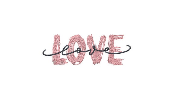 Paint Love Embroidery - Machine Embroidery File design -  4x4 inch hoop - 10cm hoop