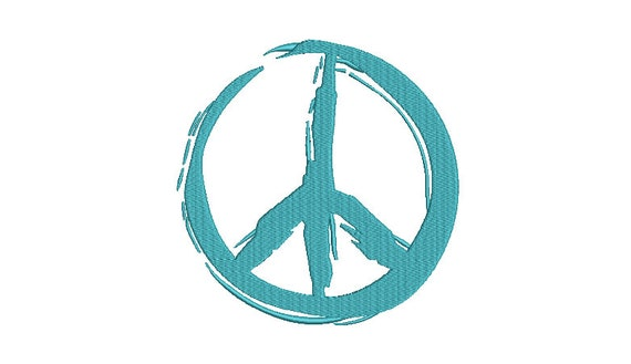 Graffiti Painted Peace Sign - Machine Embroidery File design - 4x4 inch hoop -  instant download