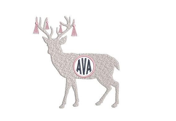 Tassel Deer Antlers Embroidery - Christmas Monogram Frame - Machine Embroidery File design  - 5x7 hoop