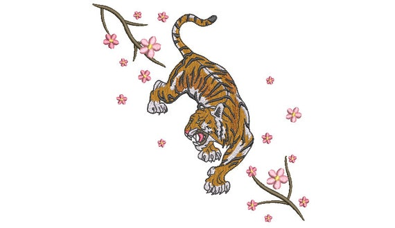 Tiger Sakura Embroidery Design - Tiger & Blossoms - Urban Modern Machine Embroidery File design - 7x12 inch hoop - instant download