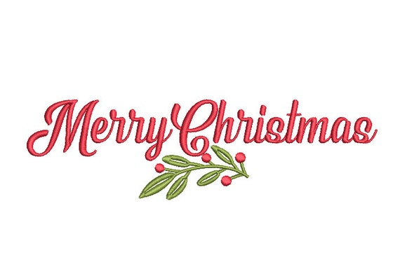 Merry Christmas Holly Embroidery - Machine Embroidery File - design 8x8 inch hoop - Xmas Embroidery File