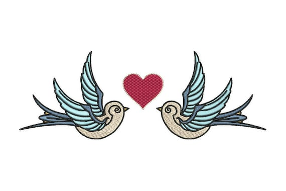 Retro Vintage Swallow & Heart Machine Embroidery File design 6x10 inch hoop instant download