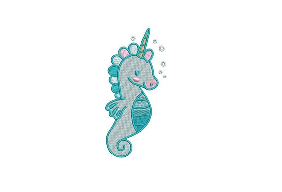 Seahorse Unicorn - Machine Embroidery File design - 4x4inch hoop - Instant download