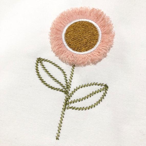 In The Hoop - 3D Fringed Flower Machine Embroidery File design  - 4x4 inch hoop - Fringe Flower