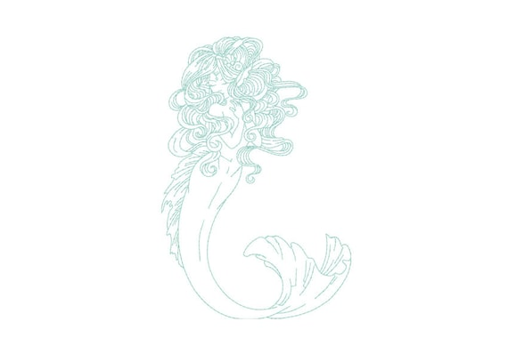 Boho Mermaid Machine Embroidery File design 5x7 hoop -  instant download
