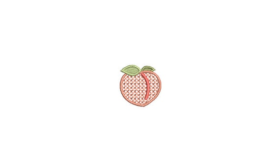 Mini Cross Stitched Peach 3cm Machine Embroidery File design  - 4x4 hoop - Instant Download