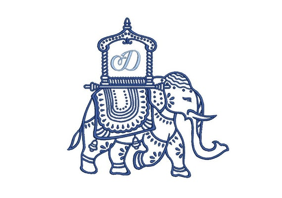 Chinoiserie Chic - Monogram Elephant 1 -Machine Embroidery File design  - 5x7 hoop - instant download