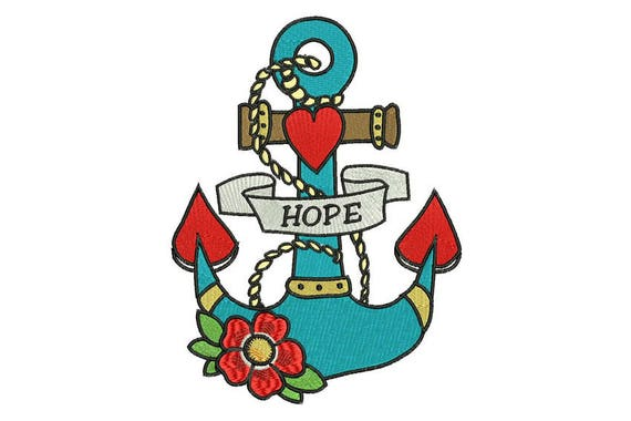 Flower Heart Anchor HOPE Machine Embroidery File design 6x10 inch hoop - Anchor Tattoo