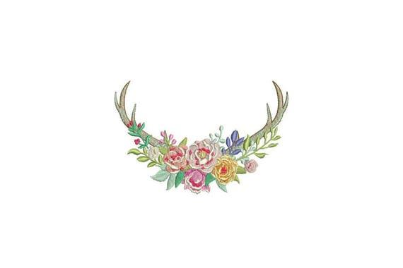 Boho Multicolour Flower Antlers Bohemian Machine Embroidery File design 5x7 inch hoop Flower Antlers