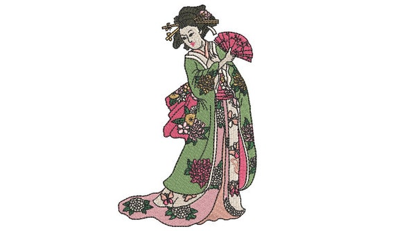 Japanese Geisha Embroidery Design -  Machine Embroidery File design - 5x7 inch hoop - instant download