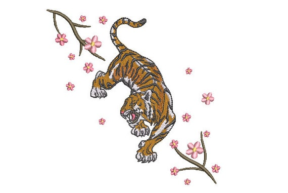 Tiger Sakura Embroidery Design - Tiger & Blossoms - Urban Modern Machine Embroidery File design - 5x7 inch hoop - instant download