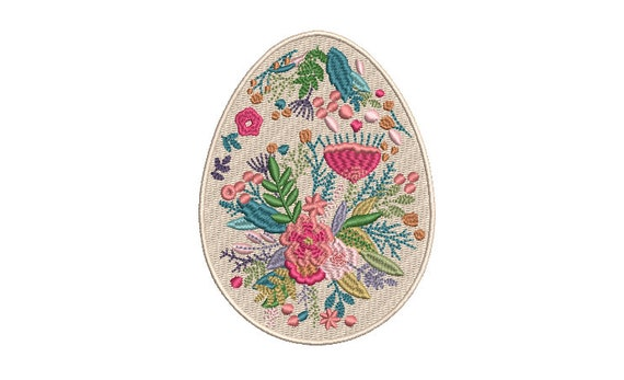 Easter Floral Egg Machine Embroidery File design - 4 x 4 inch hoop - instant download