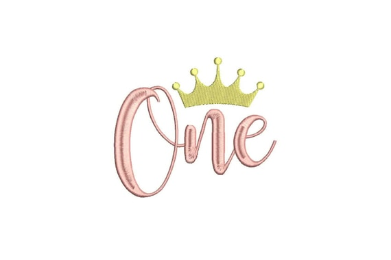 Gold Crown - ONE - First Birthday-  Machine Embroidery File design - 5x7 hoop - embroidery design