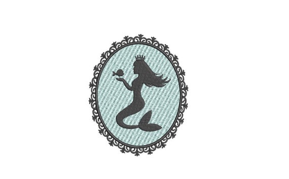 Mermaid Cameo Embroidery Design - Mermaid Silhouette - Machine Embroidery File design - 4x4 inch hoop - instant download