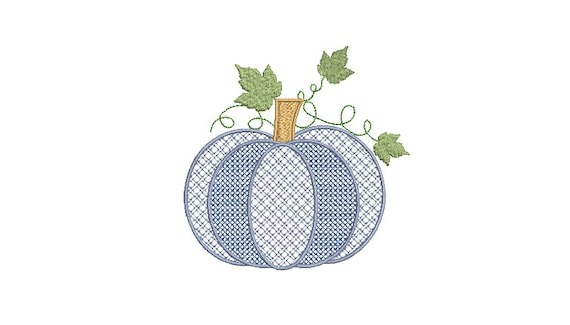 Chinoiserie Chic - Blue Plaid and Cross Stitch Pumpkin Machine Embroidery design - 5x7 hoop - instant download