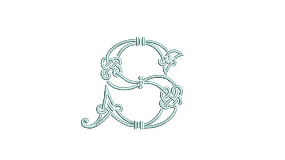 Antique S Knotted Monogram -  Machine Embroidery File design - 4x4 inch hoop - Vintage Monogram