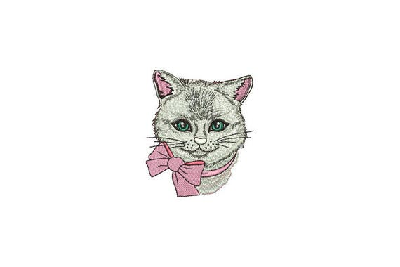 Machine Embroidery Kitty with Bow Machine Embroidery File design 4 x 4 inch hoop