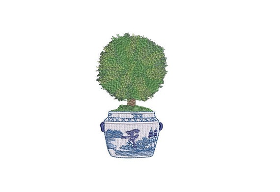 Hamptons Pot Plant Instant Download Machine Embroidery File design Chinoiserie Boxwood 5x7 inch hoop Gingham Bow Embroidery