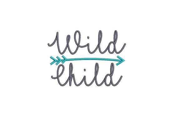 Wild Child Embroideryn- Boho Machine Embroidery File design 4x4 inch hoop - instant download