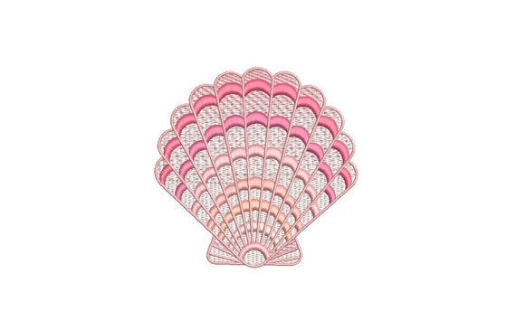 Pink Clam Shell Machine Embroidery File design  - 4x4 inch hoop - instant download - Seashell embroidery design