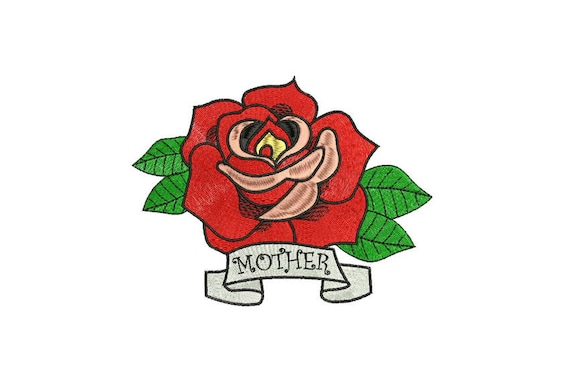 Rose Embroidery - Retro Mother Rose Tattoo Machine Embroidery File design 6 x 10 inch hoop