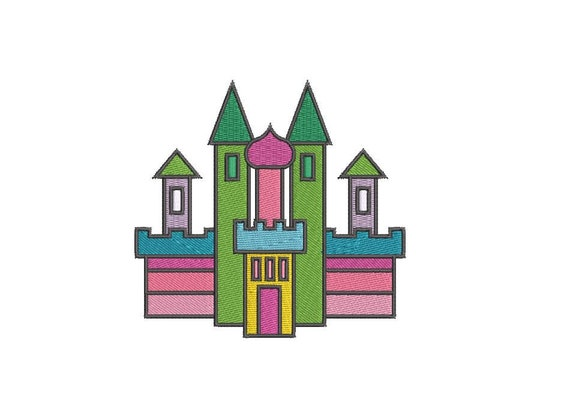 Rainbow Castle Embroidery - Machine Embroidery File design- 4 x 4 inch hoop - Instant Download