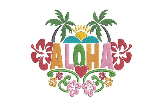 Aloha Design - Summer Embroidery- Palm Tree -  Machine Embroidery File design 5x7 inch hoop