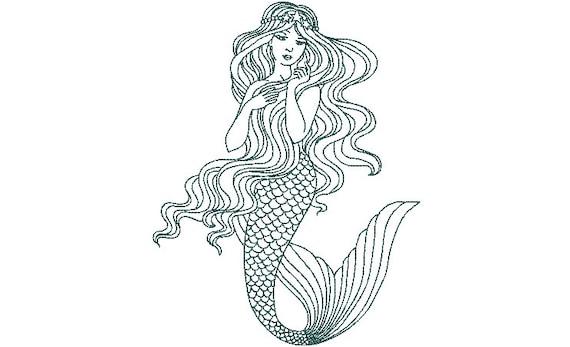 Mermaid Machine Embroidery File design - 8 x 12 hoop -  instant download - Redwork Mermaid