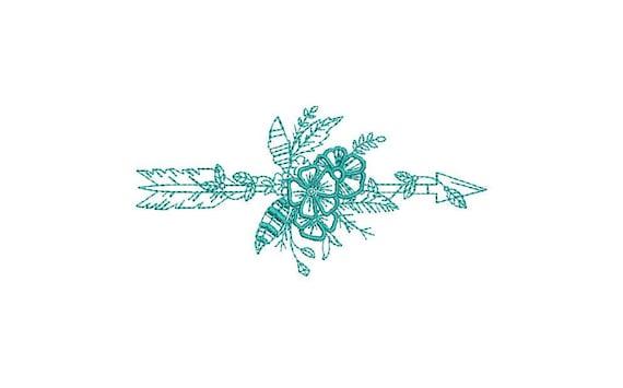 Boho Tribal Arrow Machine Embroidery File design 4x4 inch hoop