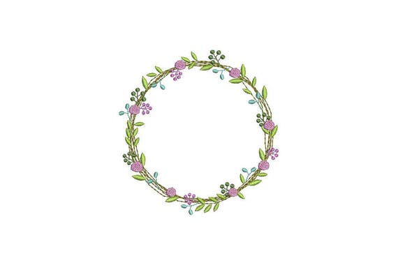 Wreath Embroidery - Lavender Wreath Machine Embroidery File design 5x7 inch hoop