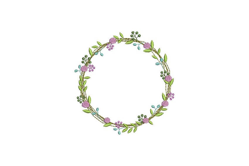 Wreath Embroidery Lavender Wreath Machine Embroidery File Design