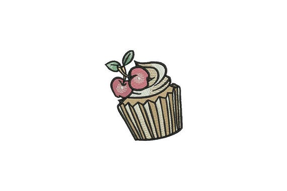 Cherry Cupcake Machine Embroidery File design 4x4 inch hoop - Retro Cupcake Tattoo