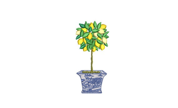 Chinoiserie Lemon Tree - Machine Embroidery File design - 4 x 4 inch hoop - Topiary Tree - Lemon embroidery Design