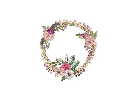 Pink Boho Wildflower Wreath- Machine Embroidery File design - 4x4 inch hoop - monogram Frame - Instant download