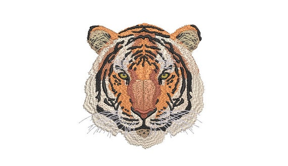 Tiger Embroidery Design - Realistic Machine Embroidery File design  - 6x10 inch hoop - Instant download