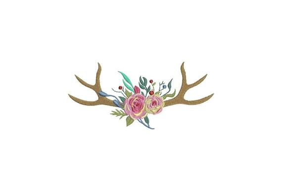 Boho Rose Antlers Bohemian Machine Embroidery File design 6x10 inch hoop Flower Antlers