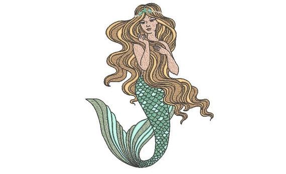 Mermaid embroidery Design - Mermaid Machine Embroidery File design - 6x10 inch hoop - Seafoam