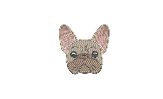 French Face Machine Embroidery File design - 4x4 inch hoop - French Bulldog Embroidery