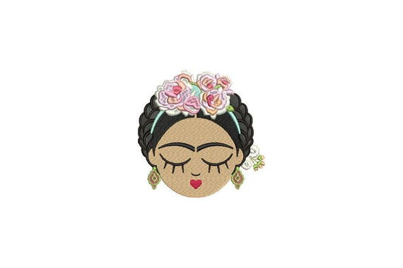 Mexican Girl Face Machine Embroidery File design 4x4 hoop Embroidery Patch Embroidery