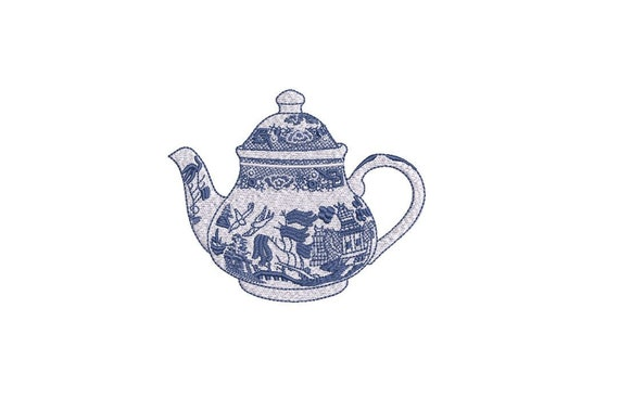 Chinoiserie Chic Monogram Teapot - Filled Machine Embroidery File design  - 4x4 hoop