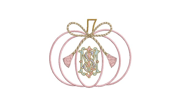 Chinoiserie String Bow Pumpkin Machine Embroidery File design - 5x7 hoop - instant download