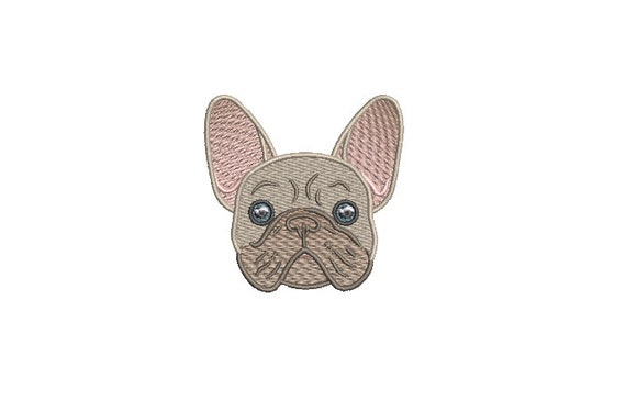 Frenchie Face Machine Embroidery File design - 3x3 inch hoop - French Bulldog Embroidery - Mini Machine embroidery